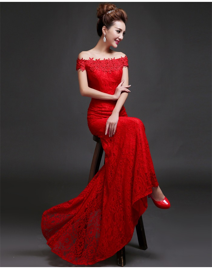 Red Wedding Dress with Short Sleeves