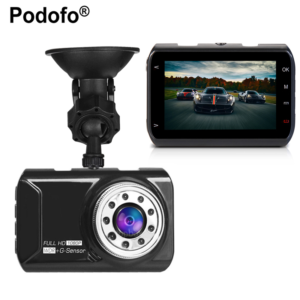 цена на Podofo Novatek 96223 Car DVR Car Camera Dash cam 3 inch 1080P 170 Degree Wide Angle Video Registrator G-sensor Night Vision
