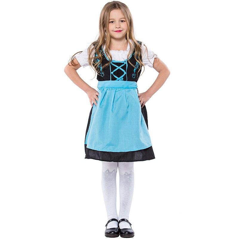 Обувь для девочек Октоберфест Платье с голубой фартук милый горничной костюм Официанта для beerfest вечерние платье