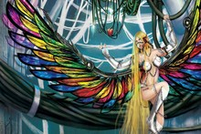 Living room home wall modern art decor canvas poster Angel Wings Fantasy irls science fiction sexy cyborg DM027
