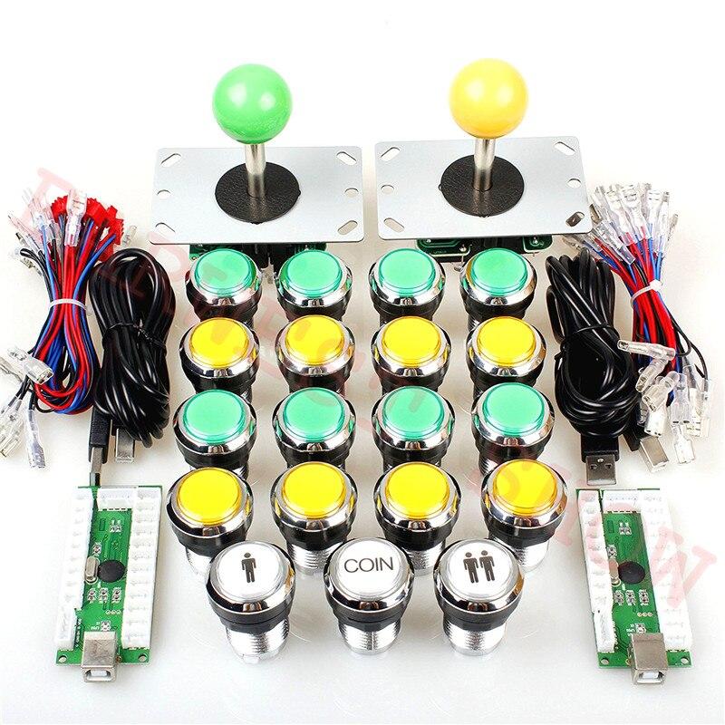 2 Player Klassische Arcade DIY Kits USB Encoder PC Sanwa Stil Joystick + Chrom Silber LED Arcade Taste Für raspberry Pi/SP3-in Spielautomaten aus Sport und Unterhaltung bei AliExpress - 11.11_Doppel-11Tag der Singles 1