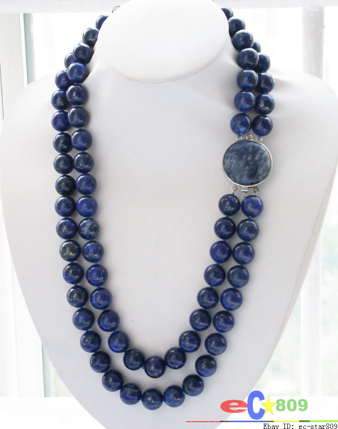 FREE SHIPPING>>>@@ wholesale Nature 2row 24 14mm blue lapis lazuli bead NECKLACEFREE SHIPPING>>>@@ wholesale Nature 2row 24 14mm blue lapis lazuli bead NECKLACE