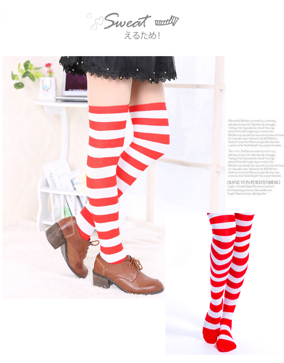 1Pair New Women's Over The Knee Large Size Stockings Sexy Thighs High Stripes Pattern Sock 6 Color Sweet Cute Warm Winter 2019 (7)