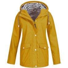 Hot sale Women Solid Rain Jacket Outdoor Waterproof Pilot Coat Hoodie Windproof Coat Hiking Rain Camping Fishing Clothing 3.25