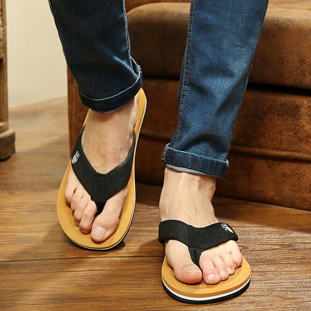 2017 New Stars Popular Summer Cool Men Flip Flops British Style Beach Sandals Non -8506