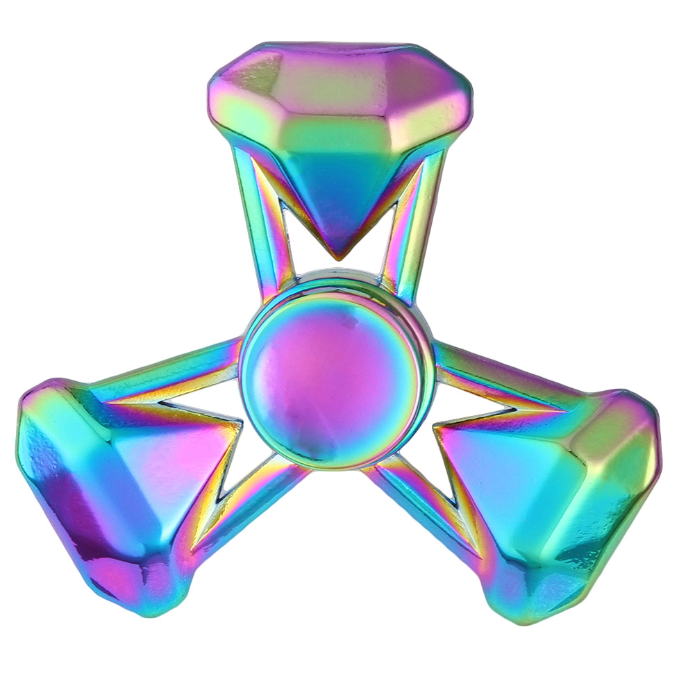 Rainbow Series Zinc Alloy Cool Finger Spinner Colorful Tri-Spinner Toys Gyro Toys With Retail Box Stress Relief Fidget Toys