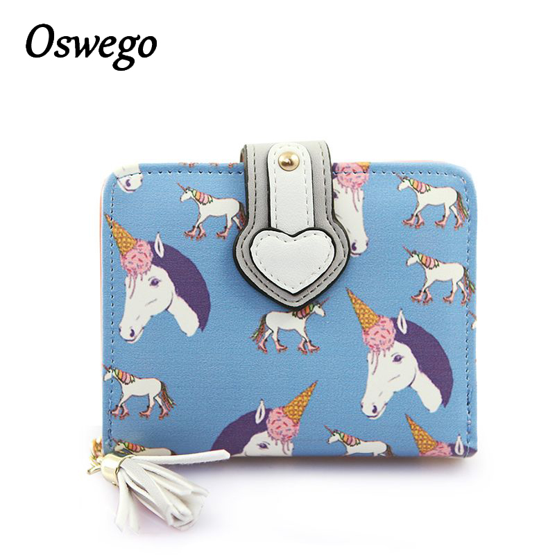 OSWEGO PU Leather Women Short Wallet Unicorn Printing Hasp Coin Wallet Ladies Purse Card Holder casual weaving design card holder handbag hasp wallet for women