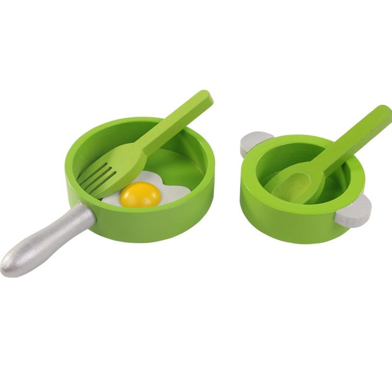 5 Stücke Kinder Holz Küche Spielzeug Set Lebensmittel Spielzeug Baby Lernspielzeug Für Kinder Mini Küche Kochtopf Pan
