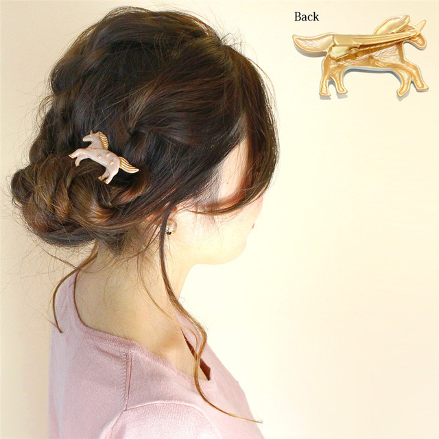 Enamel Unicorn Design Women's Hair Clip