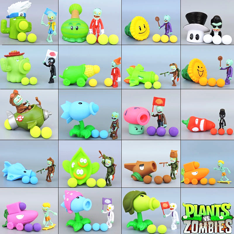 [Bainily] PVZ Plants vs Zombies Pea shooter PVC Action Figure Model Toy Gifts Toys For Children High Quality Brinquedos new 10cm kids toys pvz plants vs zombies peashooter pvc action figure model toy plants vs zombies toys for baby gift