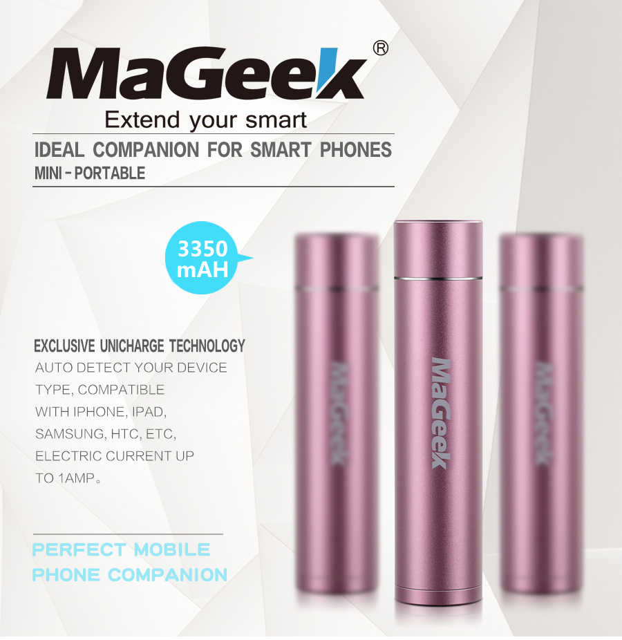 MaGeek Ngân Hàng Điện 3350 mah Di Động Sao Lưu Điện Pin Externe Sạc Powerbank đối với Samsung Xiaomi Điện Thoại Di Động [Hồng]