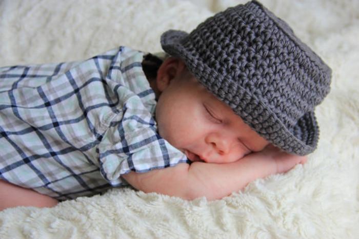 Newborn Gray Fedora Hat Newborn Baby Boy Hat Crochet Baby