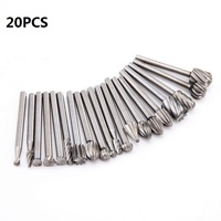 20 unids/set boquillas de brocas de madera de 3mm para accesorios dremel HSS herramientas de tallado de madera de acero inoxidable conjunto de carpintería