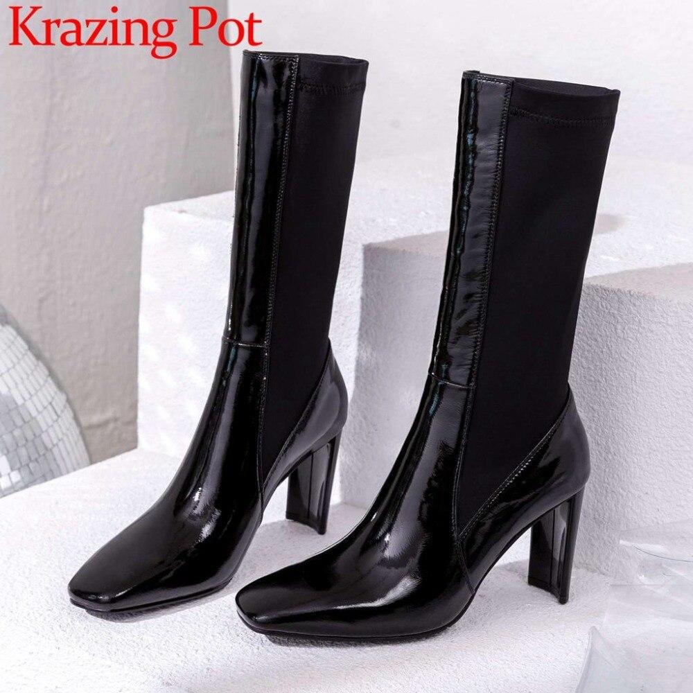 Krazing pot Superstar vache en cuir verni en vedette western bottes bout carré haute étrange talons glissent sur élastique, veau bottes L03