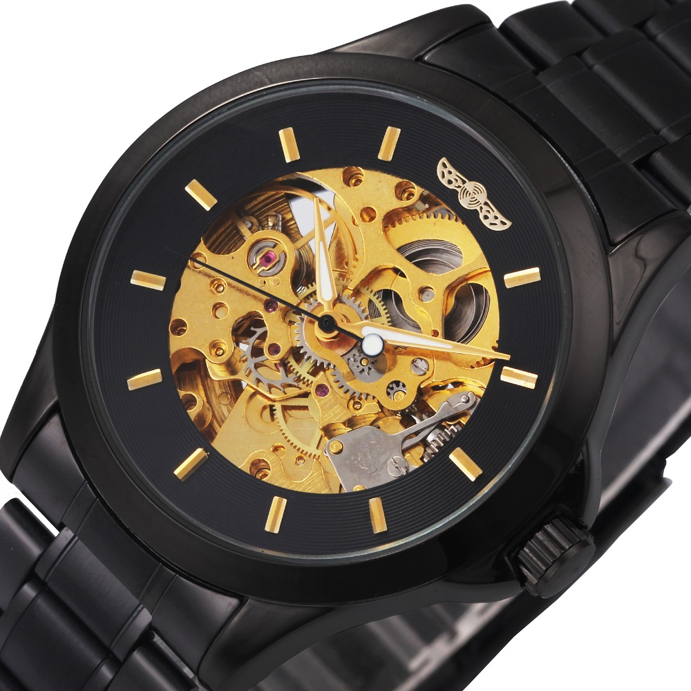 WINNER Concise Fashion Men Automatic Mechanical Watches Louvre Series Skeleton Dial Durable Stainless Steel Band Luminous Hands t winner fashion women girl skeleton dial handind mechanical watch watches pu leather band wristwatches gift free ship