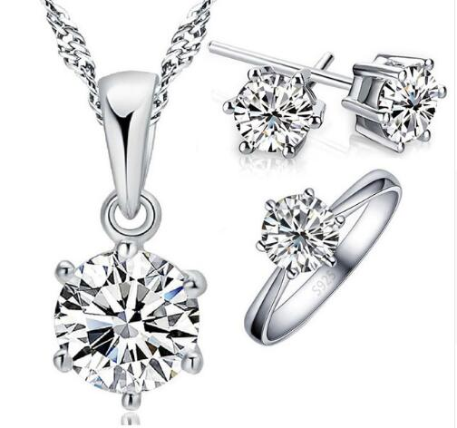 High Quality Classic Women Female Party Wedding Jewelry Set 925 Sterling Silver Necklace Earrings Ring Set Wholesale