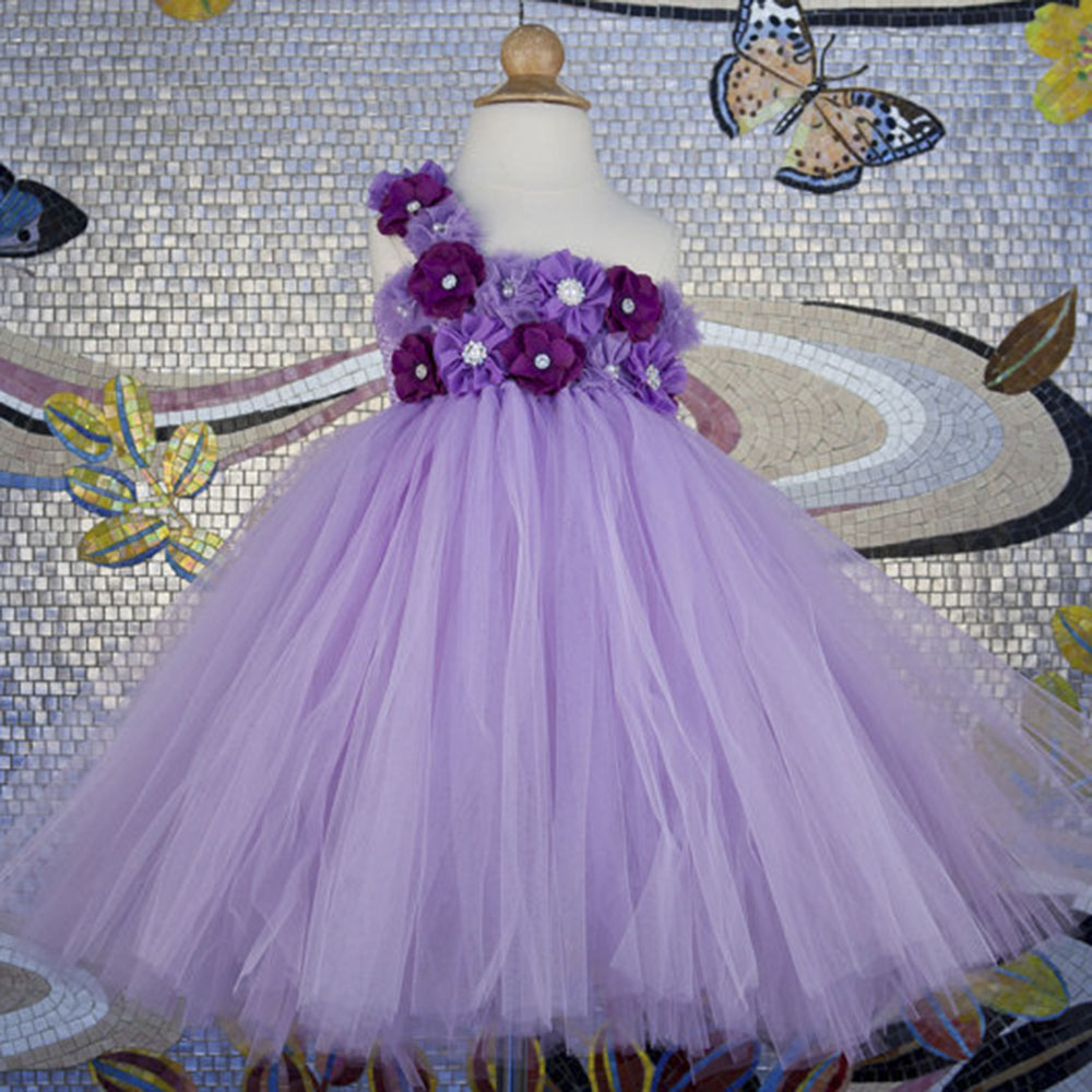 Floor Length Purple Lavender Girl Tutu Dress Pageant Shabby Flower Girls Ball Gown Wedding Party Tutu Dresses For Birthday ball gown sky blue open back with long train ruffles tiered crystals flower girl dress party birthday evening party pageant gown