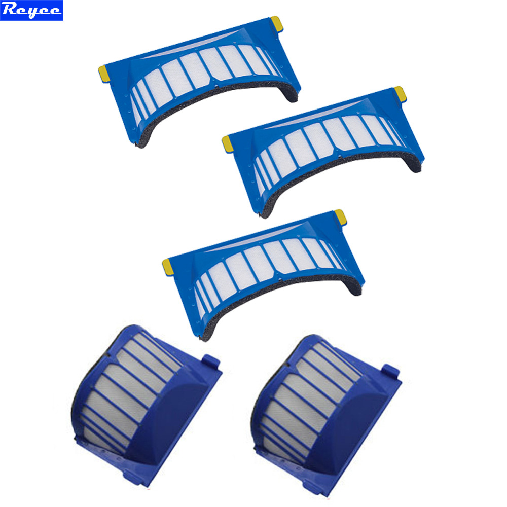 New 5 Piece AeroVac Filter Replacement Filter for iRobot Roomba 600 Series 620 630 650 660 670 680 etc Blue Filter Clear Parts sephora vintage filter палетка теней vintage filter палетка теней