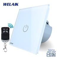 WELAIK Glass Panel Switch White Wall Switch EU Remote Control Touch Switch Screen Light Switch 1gang2way