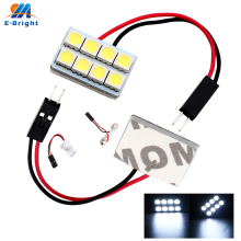 8 Pieces/lot High Quality! ! White T10 SMD 5050 3-Chips LED Light Panel + Festoon adapters Dome Bulb Lamp