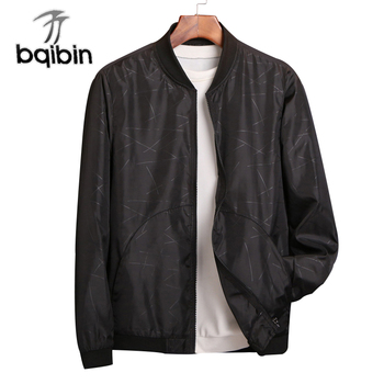 2018 Spring Summer Mens Jackets And Coats Thin Slim Fit Bomber Jackets Black O Neck Jaqueta Masculina