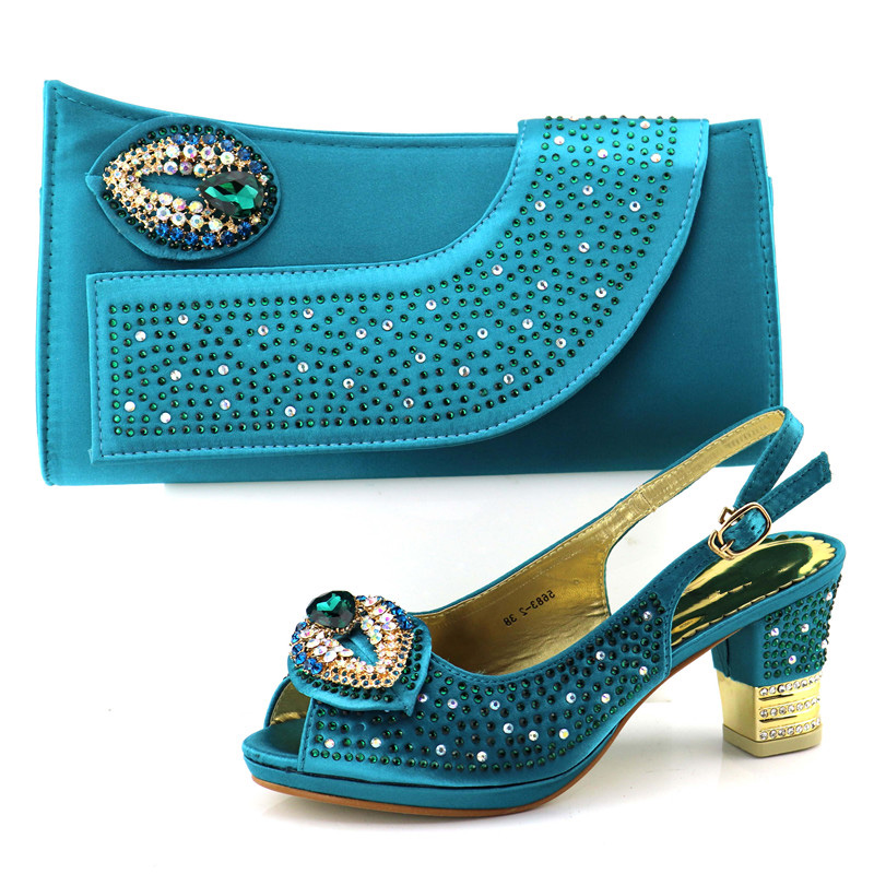 Italian shoes and bag teal blue color to match for african aso ebi shoe and bag sandal and clutches bag with stones SB8208-1 doershow shoe and bag to match italian african shoe and bag sets women shoe and bag to match for parties african shoe htx1 18