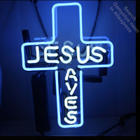 Neon Sign for JUSUS SAVES Home Garden Party Music Church Neon Tube sign handcraft with Clear board Glass Neon Flashlight sign