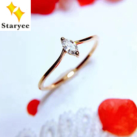STARYEE Certified VS H 0 1CT Marquise Cut Natural Diamond Wedding Rings Band For Women 18K