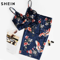 SHEIN Sexy Women Two Piece Set Elegant Navy Floral V Neck Sleeveless Velvet Bralette Top And