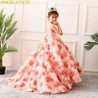 Luxury Princess Flower Girl Evening Dress Robe De Soiree Beaded Beautiful Children's Costume Great Gatsby Floor Length Gown 2018