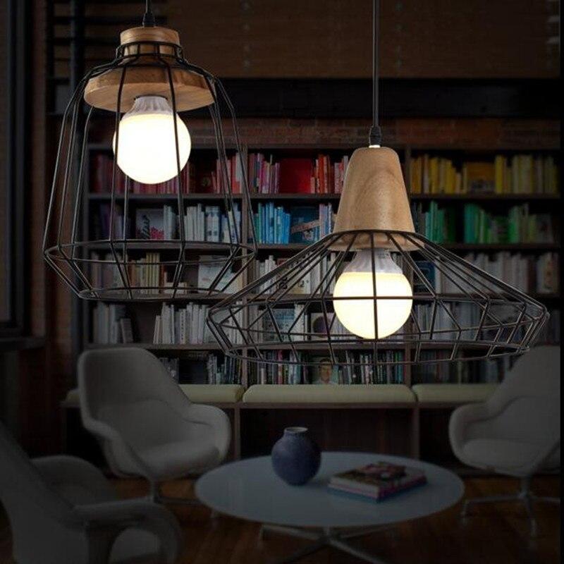 Luzes Pingente estilo retro lustres lâmpadas gaiola Cor do Abajur : Preto