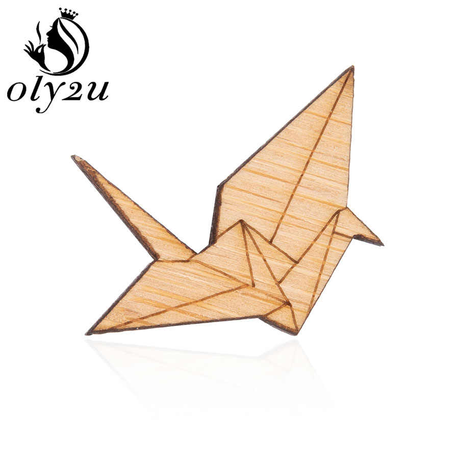 Oly2u Enamel Origami Bird Wooden Brooches Pin For Women Jewelry Paper Crane Lapel Pins Engravable Banquet Wedding Brooch Gifts