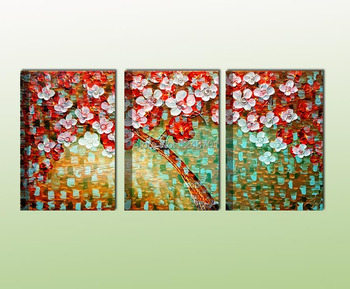 Handpainted canvas three panels palette knife flower group oil painting for home decoration