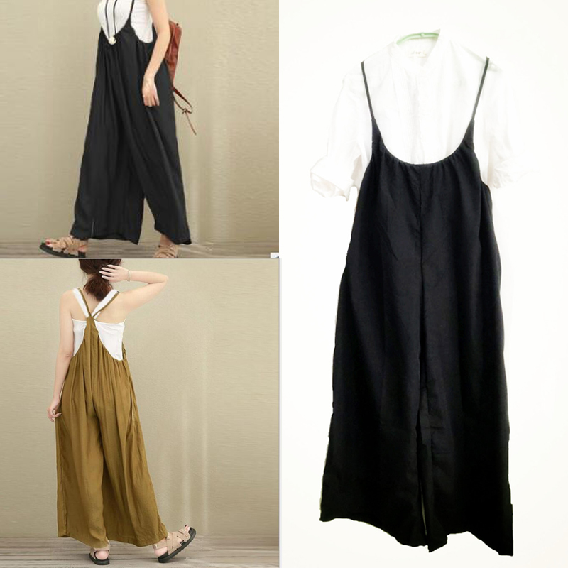 Women cotton linen one-piece suspender wide-leg pants