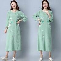 2018 frühling Herbst Neue Code Handgemalte Chinesische Folk Stil Baumwolle Kleid Grün Frauen Arbeitskleidung Kleidung