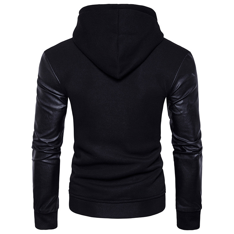 2018 Indian Sari Cotton Dresses Hot New Fashion Mens Leather Sleeves Fight Single Pocket Hooded Turtleneck Sweater Personality