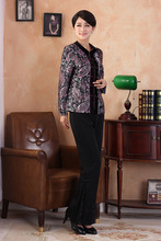 Traditional Chinese  Jacket Women Silk Satin Coat Long Sleeves Tops Size M-3XL