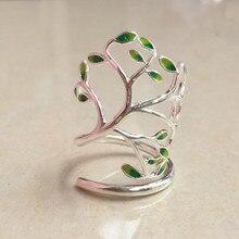 925 anillo de plata esterlina Personalizado esmalte artesanía vida del árbol hueco anillos exagerada apertura de anillo para las mujeres de joyería de moda