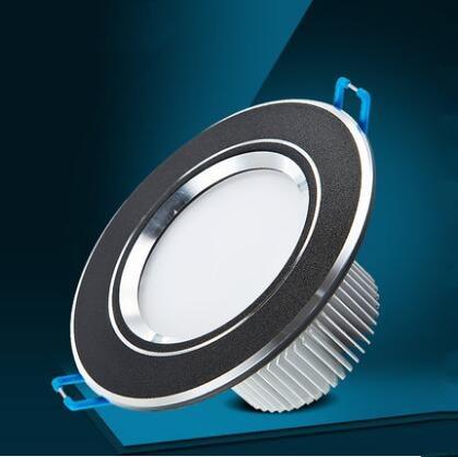 1 Unids 3W 5w 7W 9W 12w AC85V-265V 110V / 220V LED Techo redondo Downlight Empotrable Lámpara de pared LED Luz del punto con el conductor del LED negro