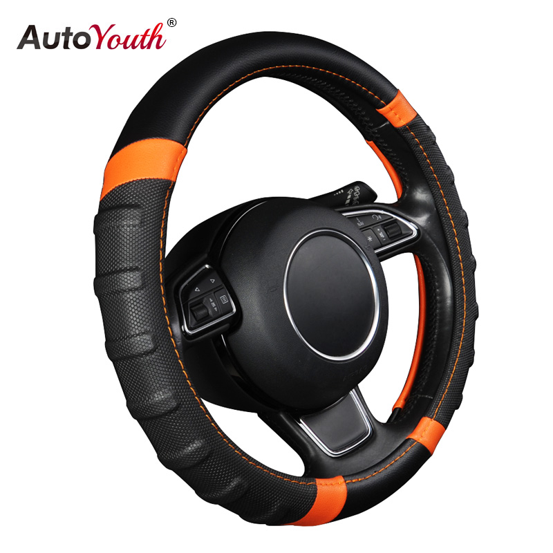 Car Steering Wheel Cover Breathable and Non Slip Microfiber Leather Steering Wheel Cover Universal 38cm/15 inch Orange and Black