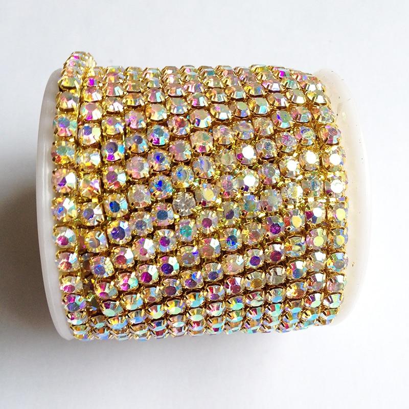 золотая основа кристалл ab стразовая цепь SS6 до SS18 интенсивная золотая основа новый стиль diy красоты платье аксессуары горный хрусталь цепи