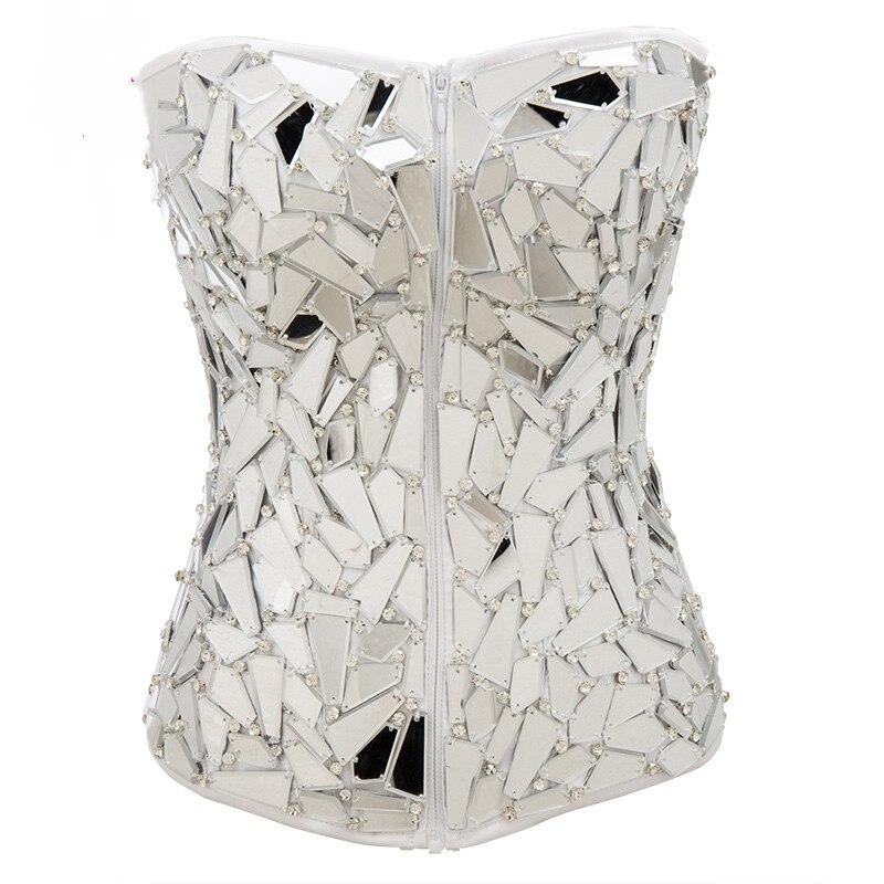 Satin blanc Avec Miroir Diamant Victorienne Korsett Pour Femmes Steampunk Corsets Et Bustiers Burlesque top corset Sexy Corsage