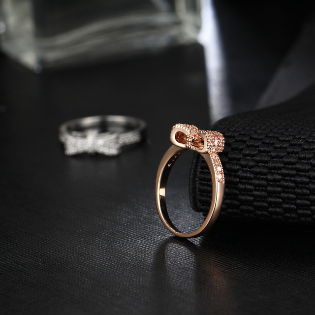 17KM Geometric Bowknot Rings For Women Fashion Crystal Cubic Zircon Ring Engagement Party Wedding Jewelry Valentine's Gift