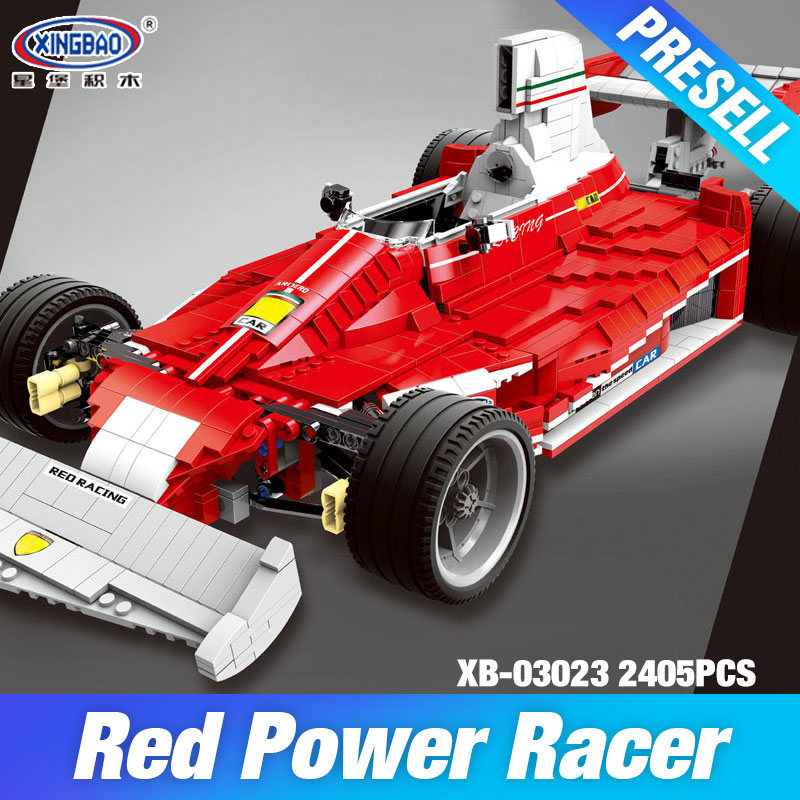 XINGBAO 03023 Genuine The Red Power Racing Car Set Self-Locking Building Blocks Bricks Educational Toy Christmas Gifts for Kids kids pedal go kart ride on rubber wheels sports racing toy trike car ricco