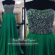 New Arrival Emerald Green Long Prom Dresses Strapless Heavy Beaded Top A-line Chiffon Prom Dress Real Sample 2017
