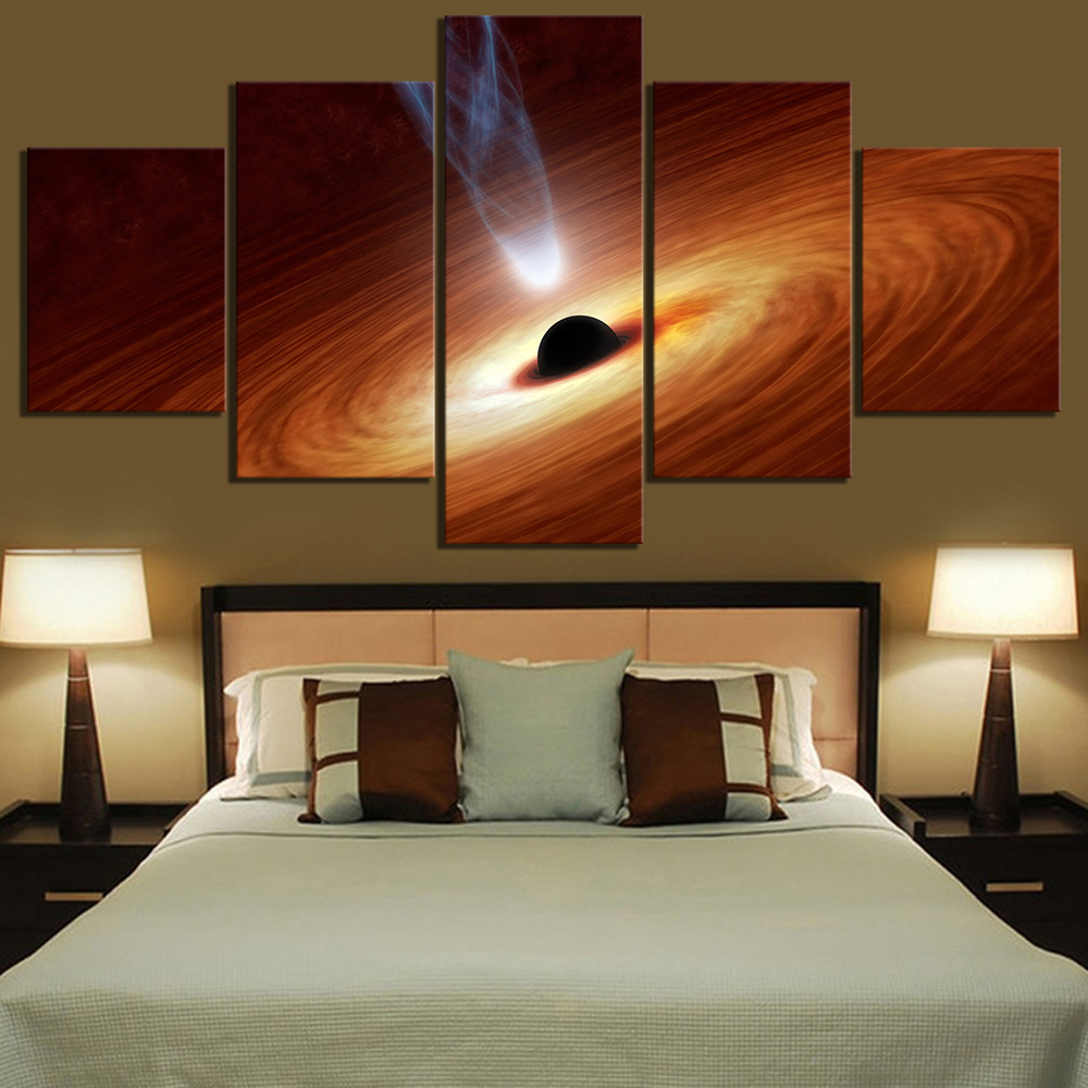 5 Piece Fantasy Art Paintings Supermassive Black Hole Picture The Milky Way Poster Wall Sticker Canvas Paintings for Wall Decor 1