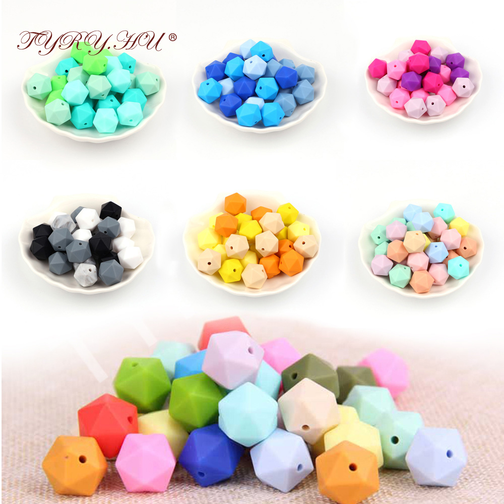 TYRY.HU 10pcs 14mm Silicone Beads Baby Teething Teether Bead Food Grade Nursing Silicone Baby Toy DIY Pacifier Accessory
