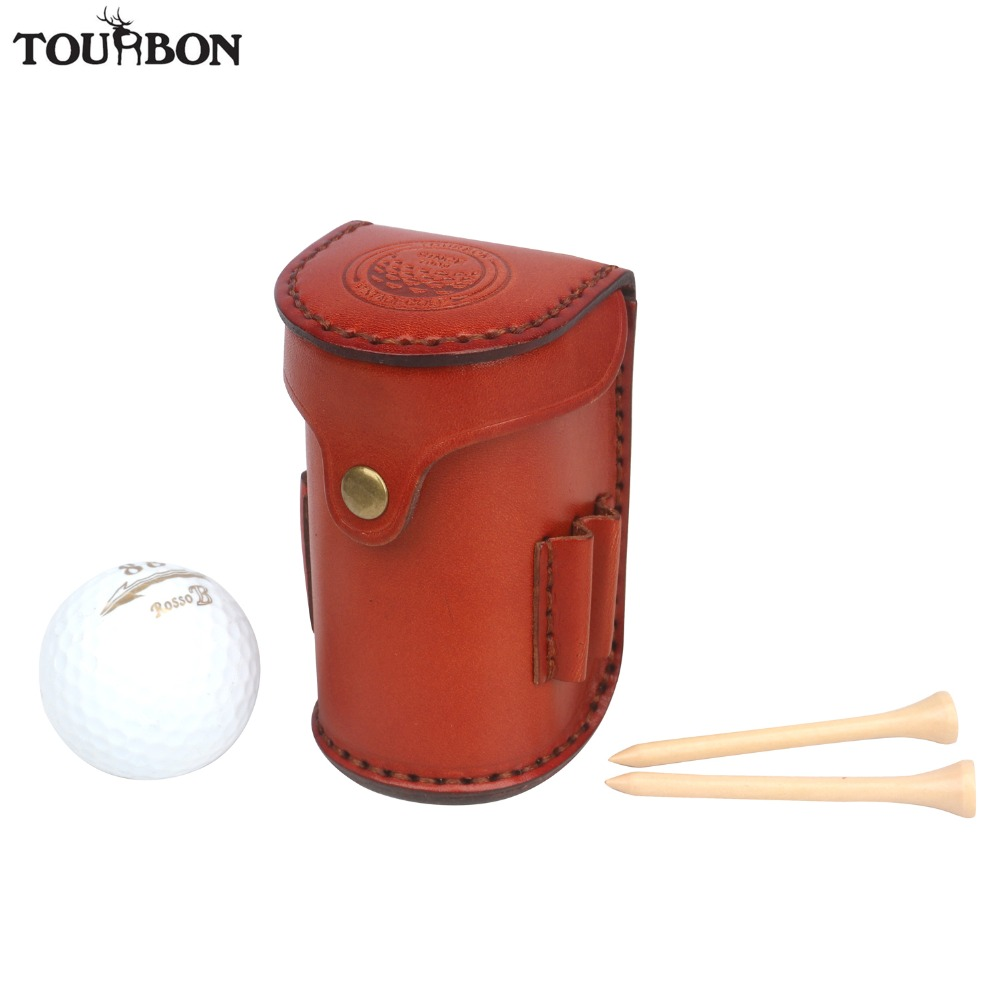 Tourbon Vintage Mini Portable Golf Ball Bag Tee Holder Holds 2 Balls Divot Tool Holder Vegetable Leather Waist Golf Pouch