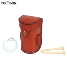 Tourbon Vintage Mini Portable Golf Ball Bag Tee Holder Holds 2 Balls Divot Tool Vegetable Leather Waist Pouch