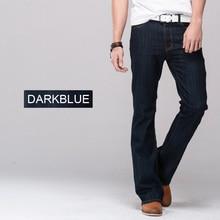 Mens jeans boot cut leg slightly flared slim fit famous brand blue black male jeans designer classic denim Jeans